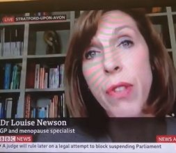Dr Louise Newson on BBC News reassures women re HRT & cancer risk