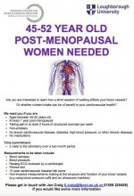 45-52 YEAR OLD POST MENOPAUSAL WOMEN NEEDED for LOUGHBOROUGH UNIVERSITY UK RESEARCH PROJECT