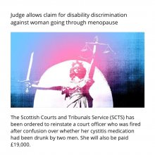 Judge allows claim for disability discrimination against a woman going through menopause