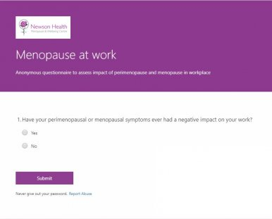 Anonymous questionnaire launched about Menopause at Work